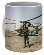 An Afghan Army Soldier Guards A Couple Coffee Mug