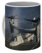 An Mv-22 Osprey Prepares To Land Aboard Coffee Mug