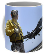 An Officer Observes An Fa-18f Super Coffee Mug
