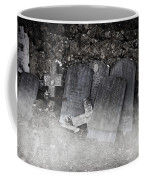 An Old Cemetery With Grave Stones And Fog Coffee Mug