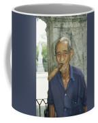 An Old Man Smokes An Over-sized Cigar Coffee Mug