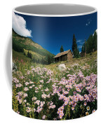 An Old Miners Cabin With Purple Asters Coffee Mug by Richard Nowitz