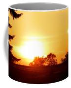 Photograph Of The White Hot Sun On An Orange Horizon With Lens Flare Coffee Mug