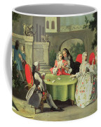 An Ornamental Garden With Elegant Figures Seated Around A Card Table Coffee Mug