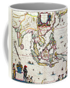 Antique Map Showing Southeast Asia And The East Indies Coffee Mug by Willem Blaeu