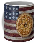 Apple Pie On Folk Art  American Flag Coffee Mug
