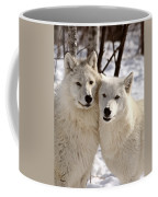 Arctic Wolves Close Together In Winter Coffee Mug