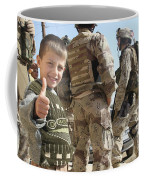 As A Father Is Questioned By Marines Coffee Mug by Stocktrek Images