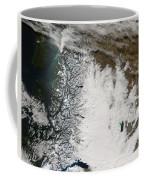 Ash Plume From Chaiten Volcano And Snow Coffee Mug