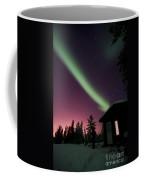 Aurora Borealis Above Cabin, Northwest Coffee Mug