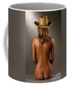 Bare Back Of A Suntanned Woman In A Straw Hat Coffee Mug