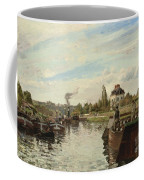 Barge On The Seine At Bougival Coffee Mug by Camille Pissarro
