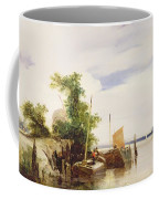 Barges On A River Coffee Mug by Richard Parkes Bonington