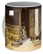 Barn With Hay Bales And Farm Equipment Coffee Mug