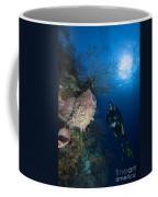 Barrel Sponge And Diver, Belize Coffee Mug