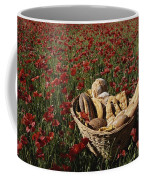 Basket Of Bread In A Poppy Field Coffee Mug