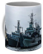 Battleship At Tower Bridge Coffee Mug