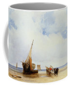 Beached Vessels And A Wagon Near Trouville Coffee Mug by Richard Parkes Bonington