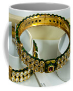 Beautiful Green And Purple Covered Gold Bangles With Semi-precious Stones Inlaid Coffee Mug