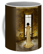 Beautiful Woman In Lace Gown In Abandoned Room Coffee Mug