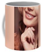 Beautiful Young Smiling Woman Mouth Coffee Mug