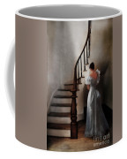 Beautiful Young Woman Standing In Gown By Stairs Coffee Mug