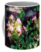 Begonias By Stone Wall Coffee Mug