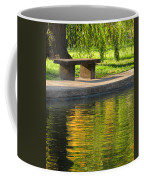 Bench And Reflections In Tower Grove Park Coffee Mug
