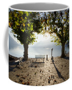 Bench And Trees On The Lake Front Coffee Mug