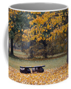 Bench In The Autumn Landscape Coffee Mug