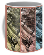 Bench In The Park Triptych  Coffee Mug by Susanne Van Hulst