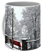 Bench With Snow Coffee Mug