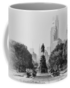 Benjamin Franklin Parkway In Black And White Coffee Mug by Bill Cannon