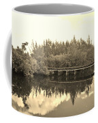 Big Sky And Dock On The River In Sepia Coffee Mug