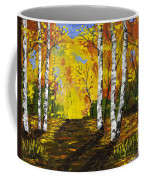 Birch Trees And Road Fall Painting Coffee Mug