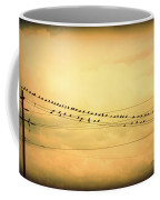 Birds On A Wire Yellow Orange Coffee Mug