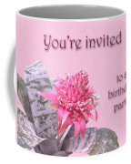 Birthday Party Invitation - Pink Flowering Bromeliad Coffee Mug