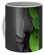 Black And White And Green Leaves Coffee Mug