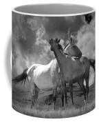 Black And White Photograph Of Montana Horses Coffee Mug