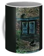 Black Birds Sitting On Roof By Window Coffee Mug