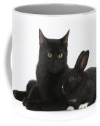 Black Cat And Rabbit Coffee Mug