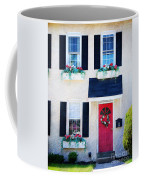Black Window Shutters With Flowers Coffee Mug