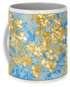 Blue And Gold Floral Abstract Coffee Mug