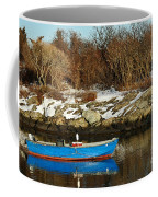 Blue And Red Boat Coffee Mug