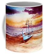 Blue Boat On The Shore Coffee Mug