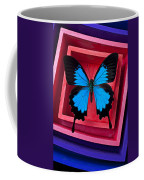 Blue Butterfly In Pink Box Coffee Mug