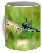 Blue Dragonfly On Barb Wire Coffee Mug