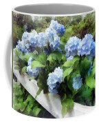 Blue Hydrangea On White Fence Coffee Mug