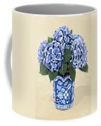 Blue Hydrangeas In A Pot On Parchment Paper Coffee Mug