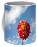 Blue Sky White Clouds Floral Art Prints Dahlia Flowers Coffee Mug